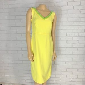 Tory Burch Yellow Portia V Neck Sheath Dress